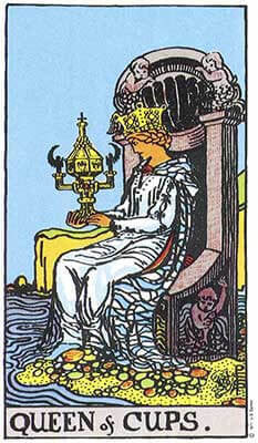 Queen of Cups Meaning - Original Rider Waite Tarot Depiction