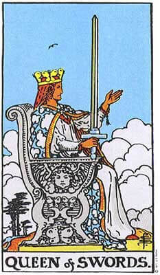 Queen Of Swords Meaning Original Rider Waite Tarot Depiction