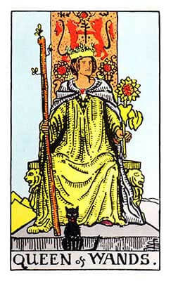 Queen of Wands Meaning - Original Rider Waite Tarot Depiction