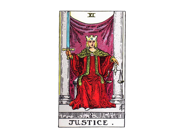 Justice tarot card meaning in the Rider Waite tarot deck