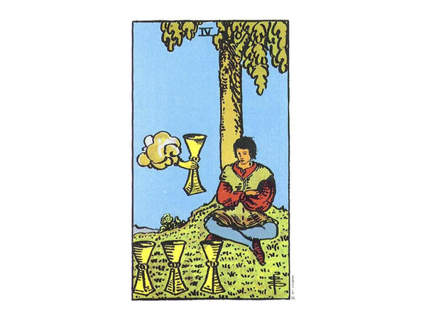 The original depiction of the four of cups tarot card in the Rider Waite deck. Four of cups meaning in tarot.