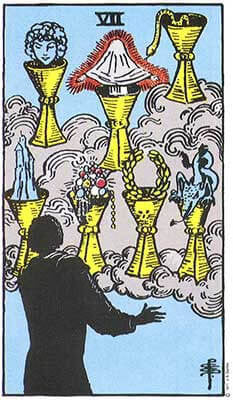 Seven of Cups Meaning - Original Rider Waite Tarot Depiction