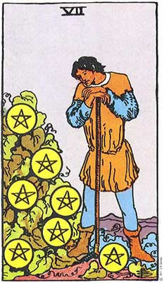 Seven of Pentacles Meaning - Original Rider Waite Tarot Depiction