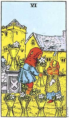 Six of Cups Meaning - Original Rider Waite Tarot Depiction