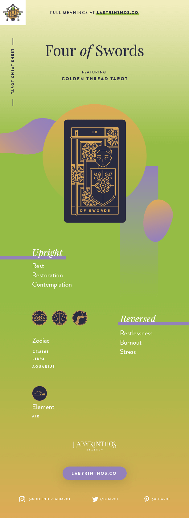 Four of Swords Meaning - Tarot Card Meanings Cheat Sheet. Art from Golden Thread Tarot.