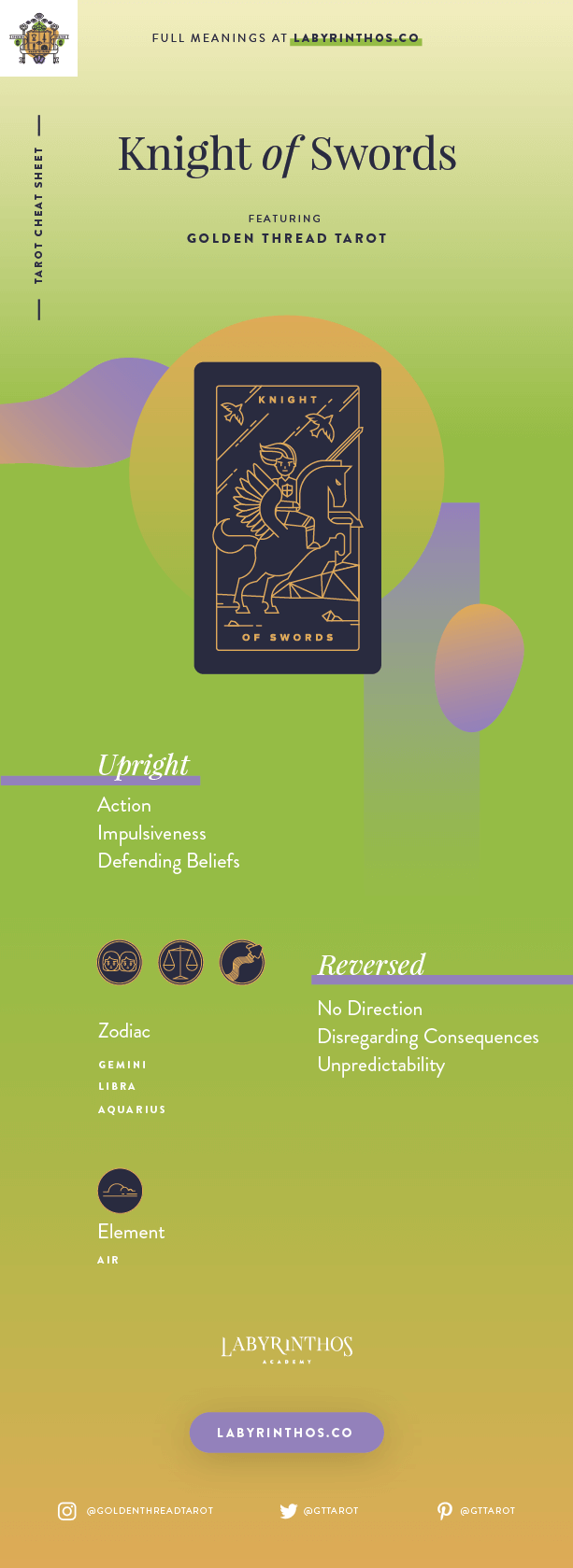 Knight of Swords Meaning - Tarot Card Meanings Cheat Sheet. Art from Golden Thread Tarot.