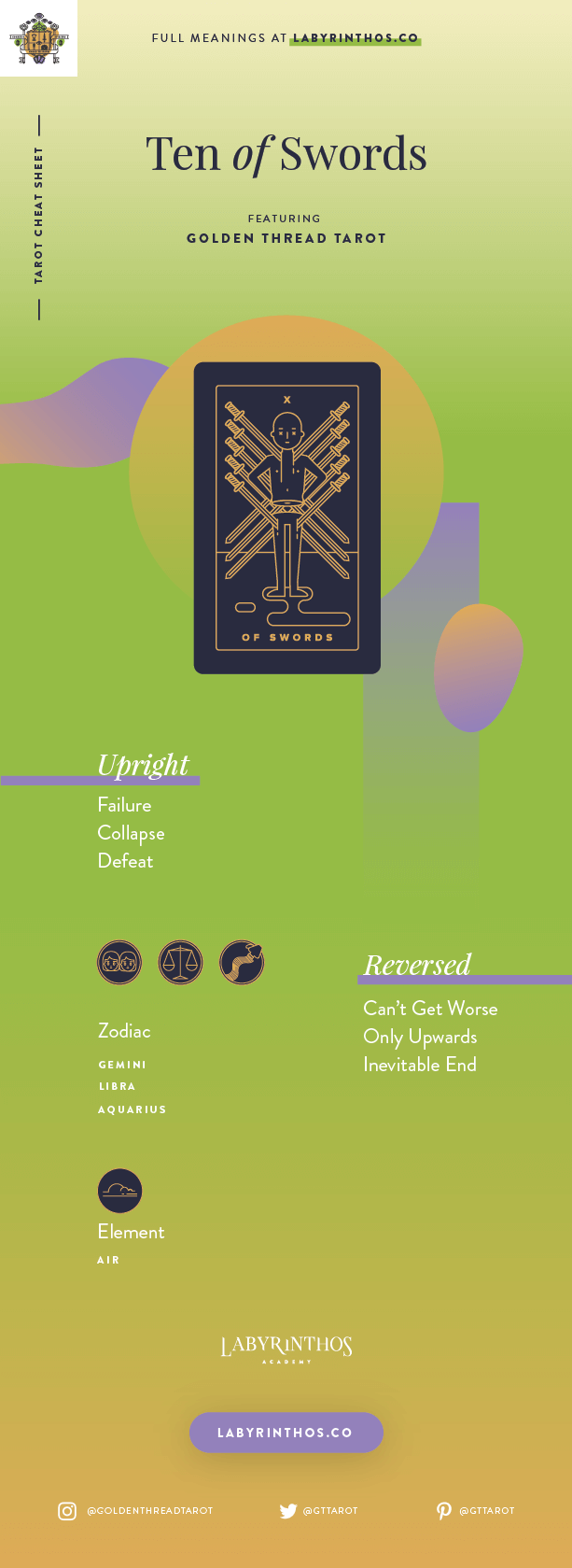 Ten of Swords Meaning - Tarot Card Meanings Cheat Sheet. Art from Golden Thread Tarot.