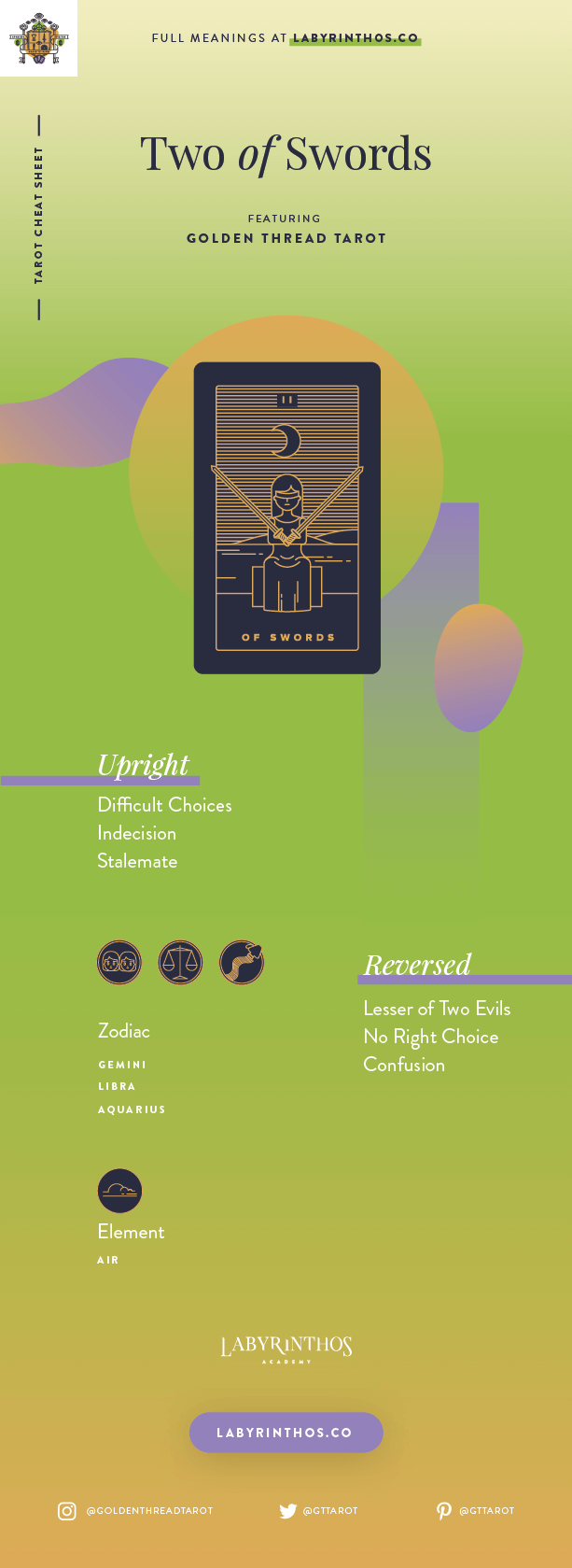 Two of Swords Meaning - Tarot Card Meanings Cheat Sheet. Art from Golden Thread Tarot.
