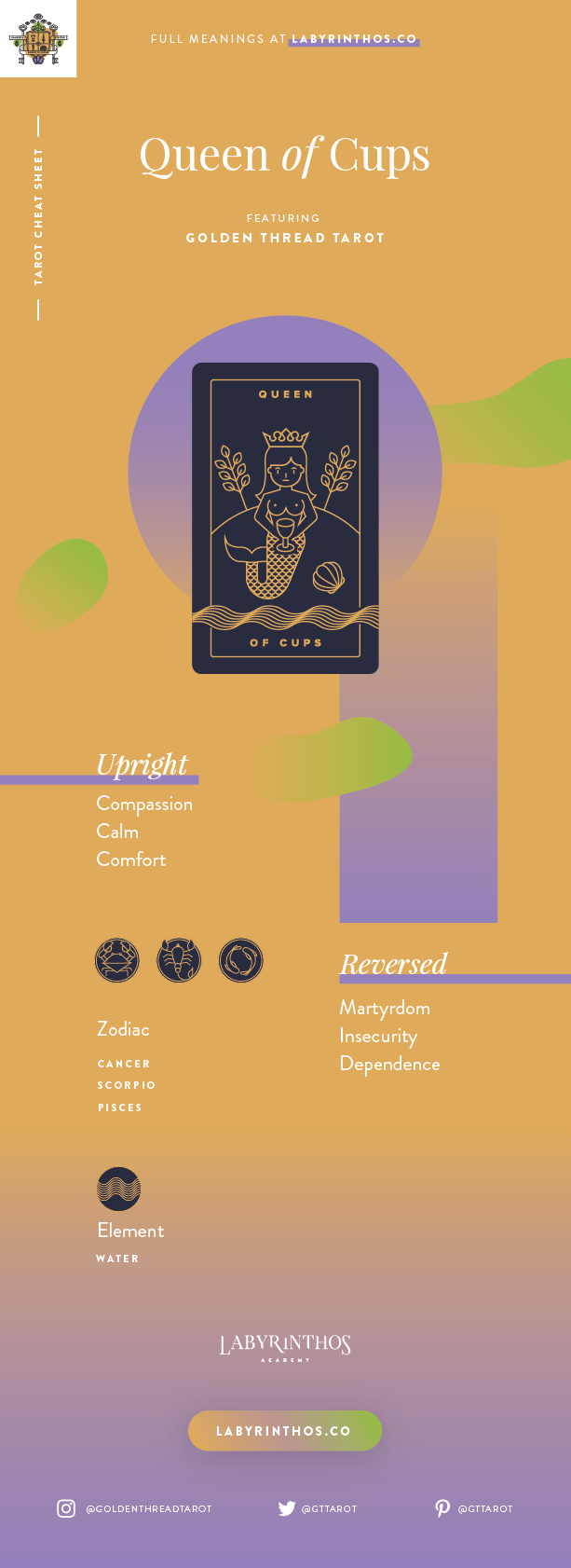 Queen of Cups Meaning - Tarot Card Meanings Cheat Sheet. Art from Golden Thread Tarot.