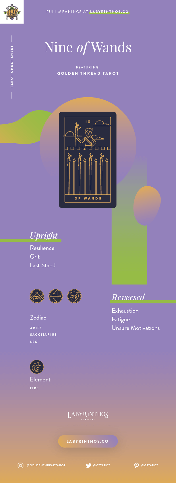 Nine of Wands Meaning - Tarot Card Meanings Cheat Sheet