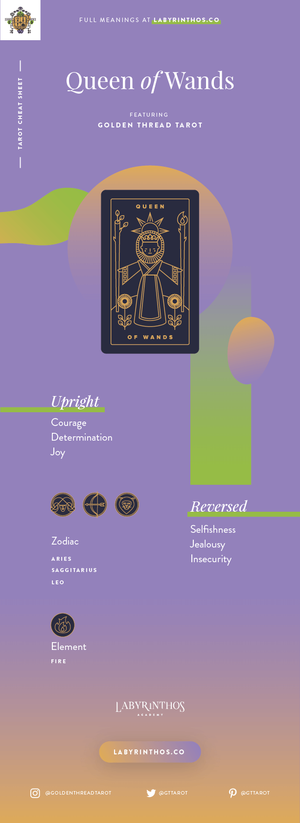 Queen of Wands Meaning - Tarot Card Meanings Cheat Sheet