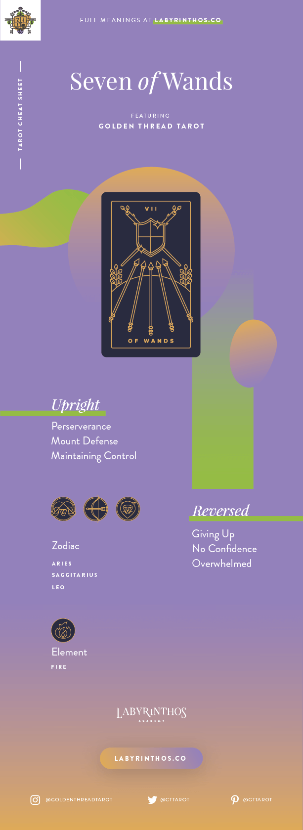 Seven of Wands Meaning - Tarot Card Meanings Cheat Sheet