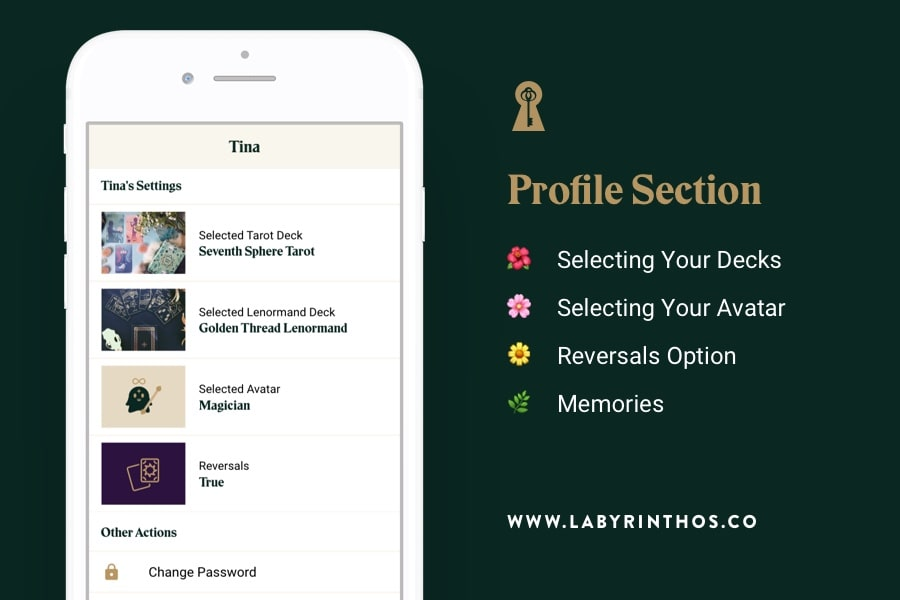 Labyrinthos Academy Tarot App Free Update - Profile Section