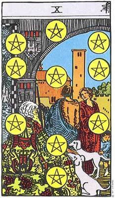 Ten of Pentacles Meaning - Original Rider Waite Tarot Depiction