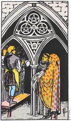 Three of Pentacles Meaning - Original Rider Waite Tarot Depiction