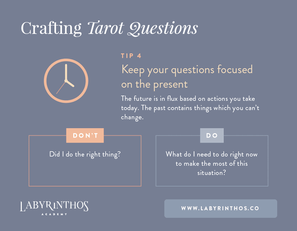 Keep your questions focused on the present - Tip 4 -How to Phrase Effective Tarot Card Questions and Get the Most From Your Tarot Reading