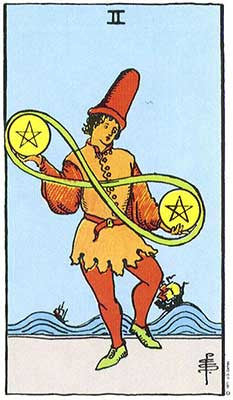 Two of Pentacles Meaning - Original Rider Waite Tarot Depiction