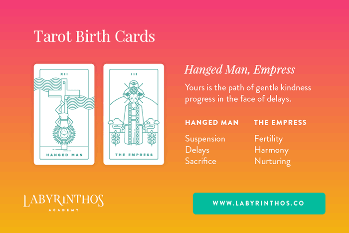 The Hanged Man and The Empress - Tarot Birth Card Meaning Revealed