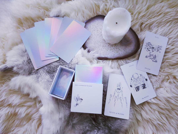 Luminous Spirit Tarot Deck: Holographic tarot cards with minimalist, hand-drawn imagery - Image shown with box