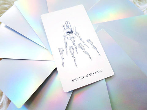 Luminous Spirit Tarot Deck: Holographic tarot cards with minimalist, hand-drawn imagery with seven of wands