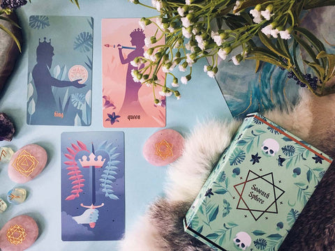 Seventh Sphere Tarot Deck - Full Bleed Cards - Modern and Minimalist Tarot de Marseille Deck with Rose Gold Foil Details and Gradient Pastels - Lifestyle Shot