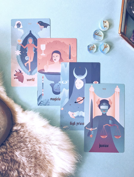 Seventh Sphere Tarot Deck - Full Bleed Cards - Modern and Minimalist Tarot de Marseille Deck with Rose Gold Foil Details and Gradient Pastels