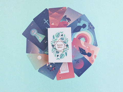Seventh Sphere Lenormand Deck - Full Bleed Bridge Sized Cards - Modern and Minimalist Lenormand Deck with Rose Gold Foil Details and Gradient Pastels - Box and Cards