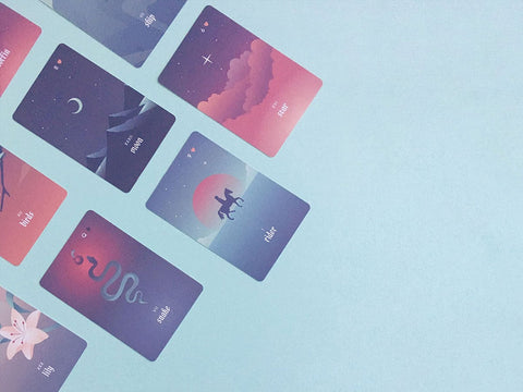 Seventh Sphere Lenormand Deck - Full Bleed Bridge Sized Cards - Modern and Minimalist Lenormand Deck with Rose Gold Foil Details and Gradient Pastels - Some Cards