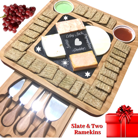 Slate Cheese Board Set w/Cutlery Set, 2 Bowl, Soap Stone Chalk, Charcuterie Platter Slate Board, Perfect gift for Mom, Mothers, Women, Men Housewarming, Wedding, Birthday