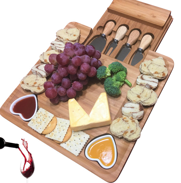 Bamboo Cheese Board & Cutlery Set with Heart shaped bowls