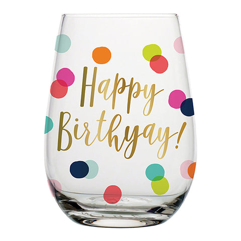 G- Happy Birthday Wine Glass