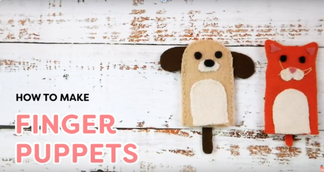 Hand Sewn Cat and Dog Finger Puppets