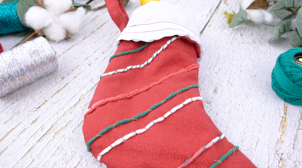 Hand Couched Christmas Stocking