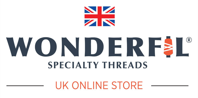 WonderFil UK offers 36 specialty threads ranging from 100wt to 3wt in cotton, wool, rayon, polyester, and metallic materials.