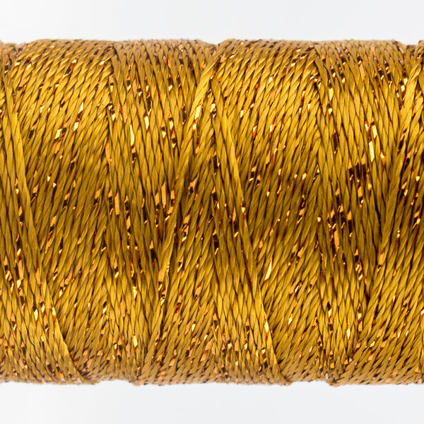DZ328 - 8wt Rayon and Metallic Golden Green Thread - wonderfil-online-uk