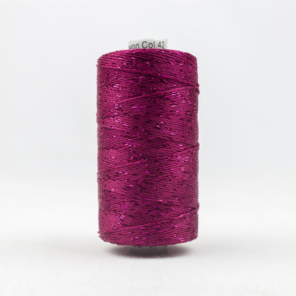 DZ42 - 8wt Rayon and Metallic Raspberry Thread - wonderfil-online-uk