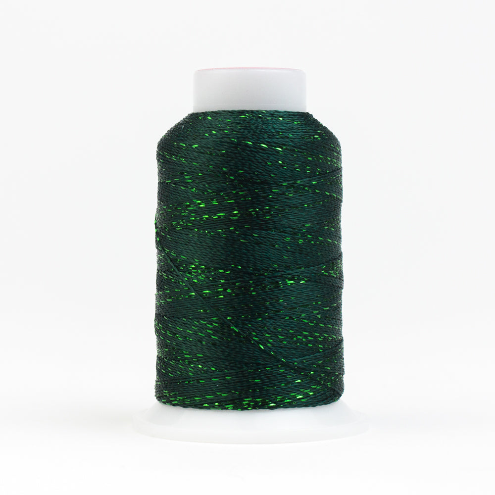 GM566 -  GlaMore 12wt Rayon and Metallic Forest Greenv Thread - wonderfil-online-uk