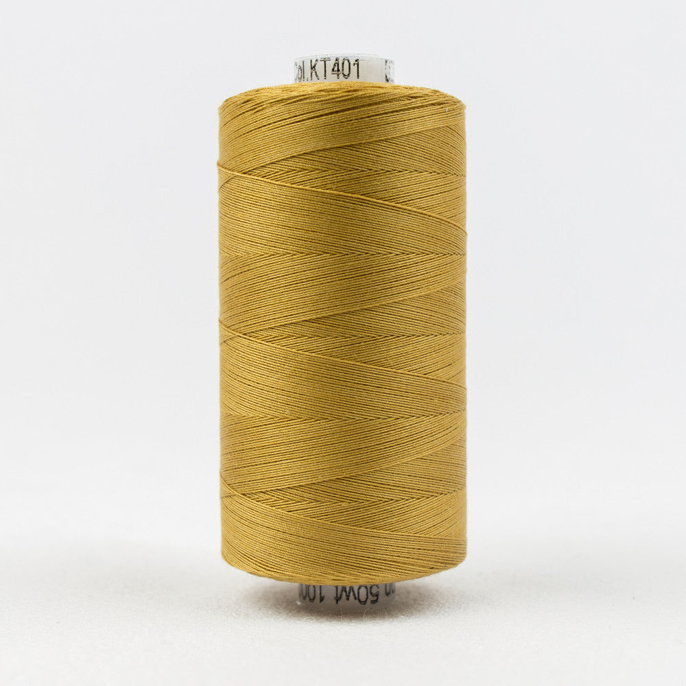 KT401 - Konfetti 50wt Egyptian Cotton Dark Gold Thread - wonderfil-online-uk