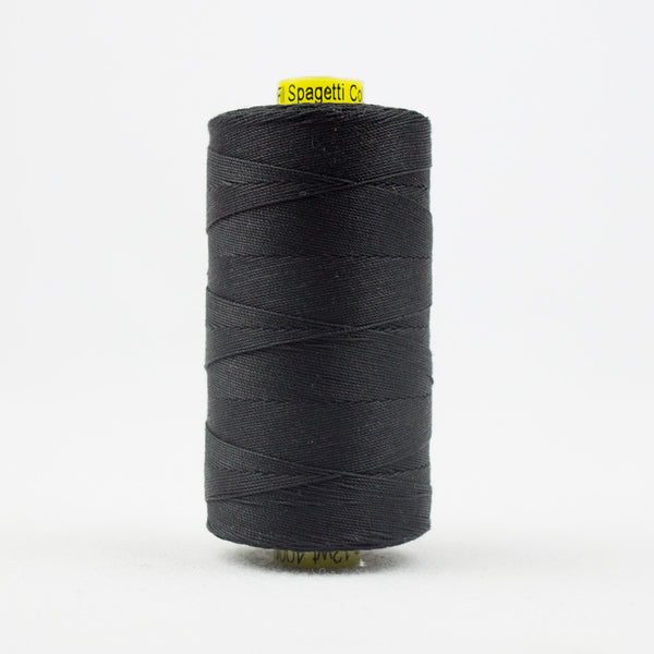 SP200 - Spagetti 12wt Egyptian Cotton Black Thread - wonderfil-online-uk