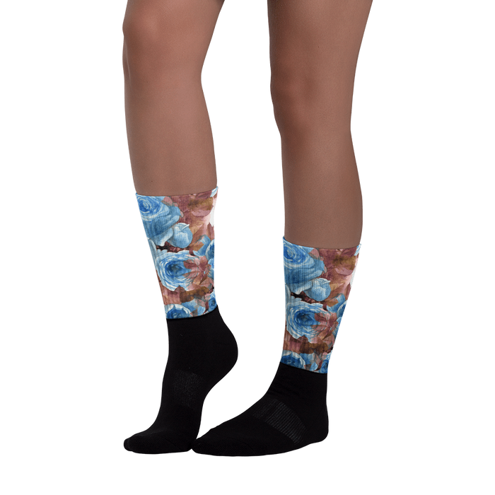 Autumn rose Black foot socks