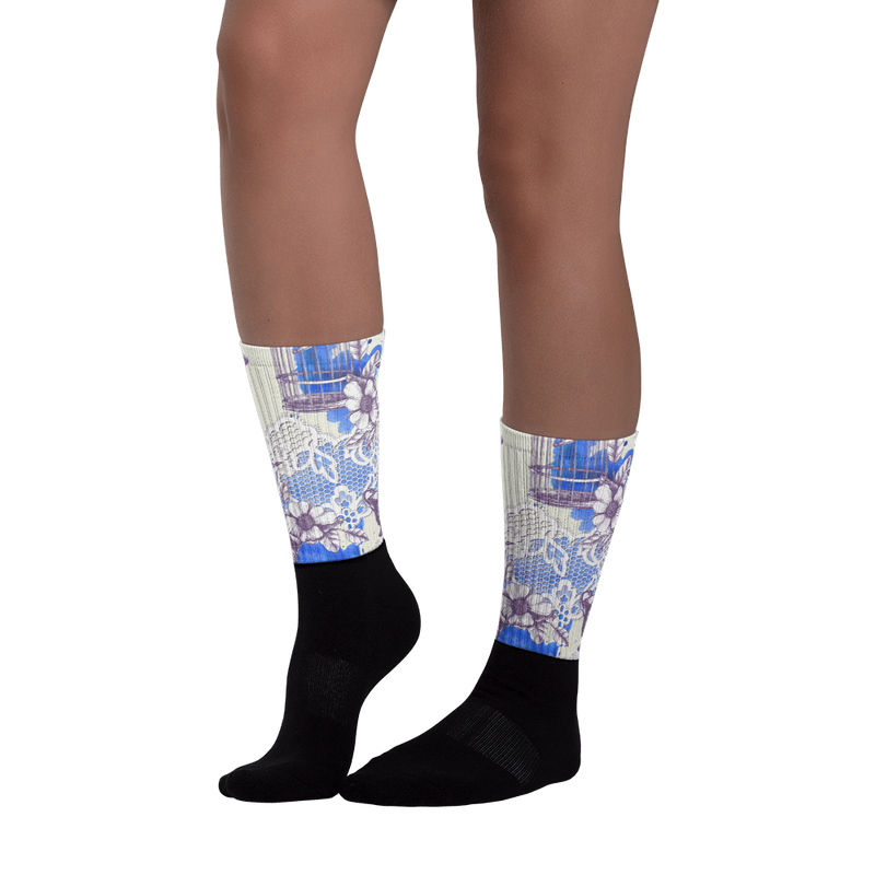 Bird Romance Black foot socks
