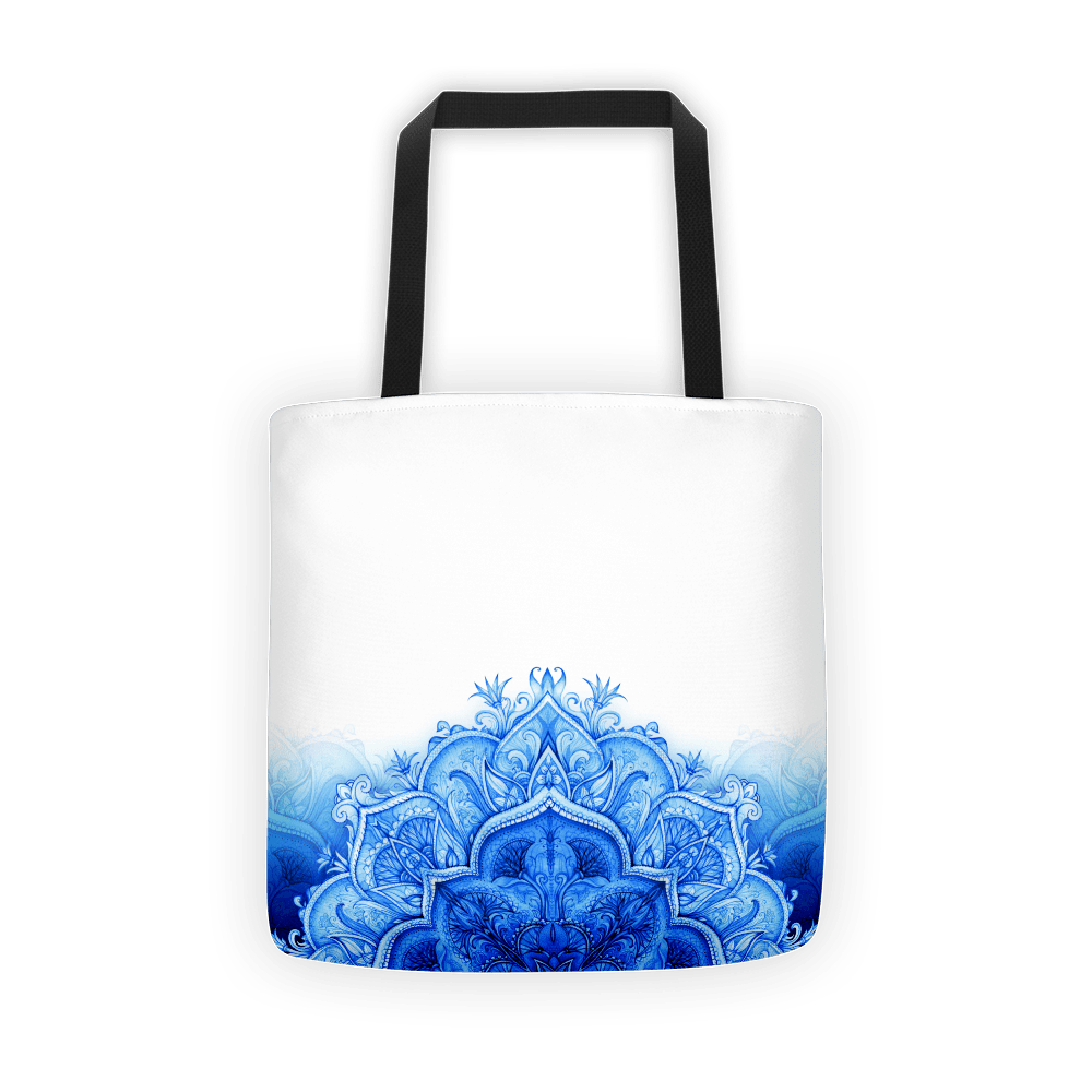 Bottom blue moroccan floral Tote bag