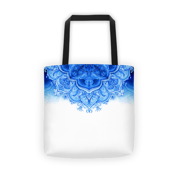 Top blue moroccan floral Tote bag