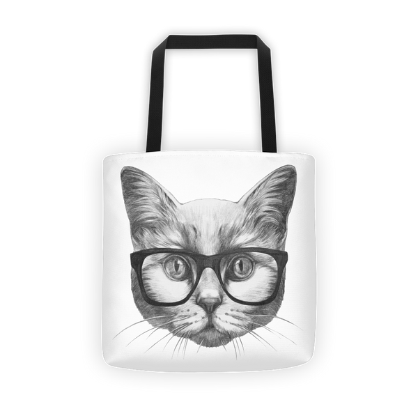 Eyeglass cat Tote bag