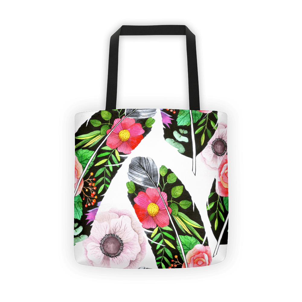 Green feather Tote bag