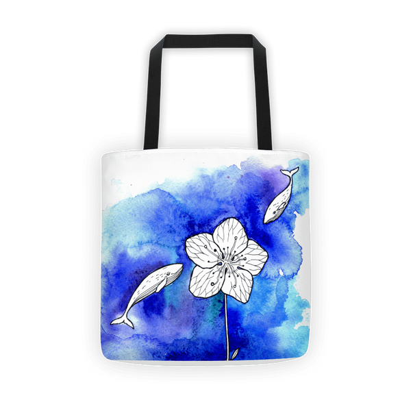 Whale meets flower Tote bag