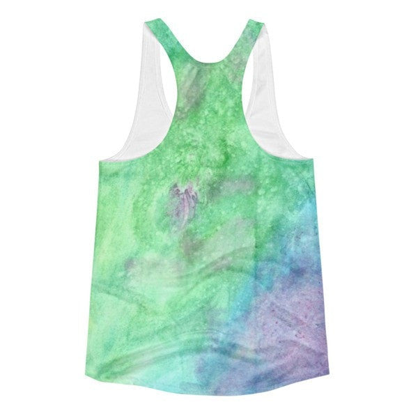 All over print - Women's Racerback Green watercolorTank - Hutsylife - 2