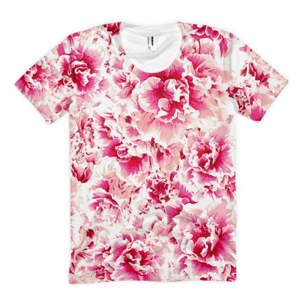 All over print - Pink floral Women's Sublimation T-Shirt - Hutsylife - 1