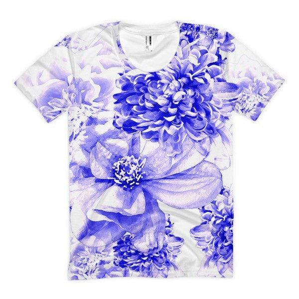 All over print - Indigo floral Women's Sublimation T-Shirt - Hutsylife - 1