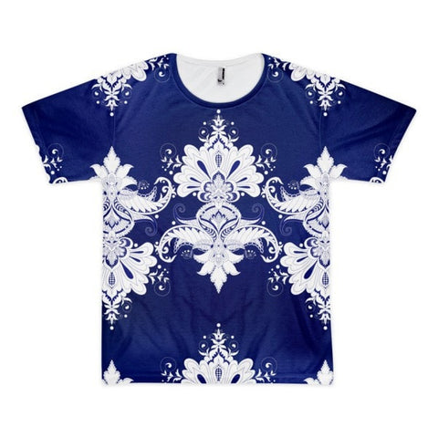 All over print - Blue & white flow Short sleeve men's t-shirt
